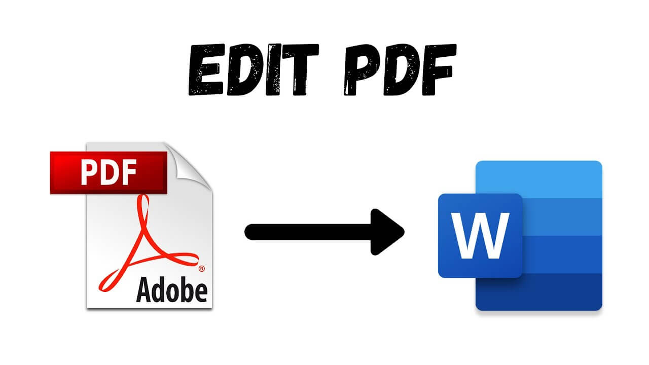 Edit a PDF, a PDF icon with an arrow to the Microsoft Word Icon